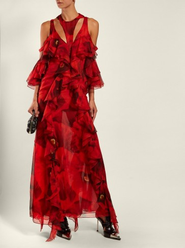 ALEXANDER MCQUEEN Poppy-print ruffled gown in red ~ event statement clothing