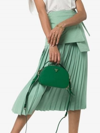 Prada Green Brique Leather Shoulder Bag / small designer bags