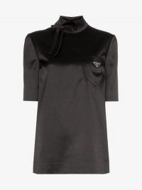 Prada High-Neck Black Satin Logo Top