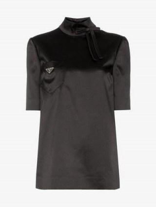 Prada High-Neck Black Satin Logo Top - flipped