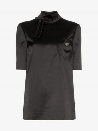 Prada High-Neck Black Satin Logo Top