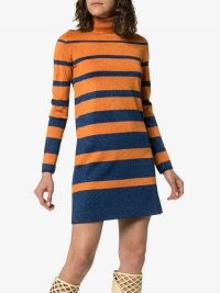 Prada Logo Turtleneck Metallic Dress in Navy and Orange | designer sweater dresses