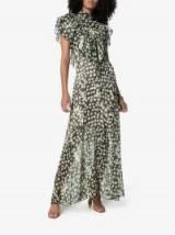 Preen By Thornton Bregazzi Emily Floral Print Ruffle Detail Maxi Dress / romantic style high neck dresses