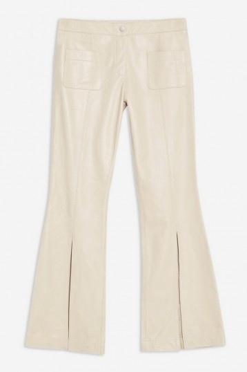 Topshop Premium Split Leather Trousers in cream | neutral pants | luxe flares