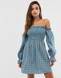 PrettyLittleThing bardot dress with shirred panel and gathered sleeve in blue check   smocked off the shoulder dresses
