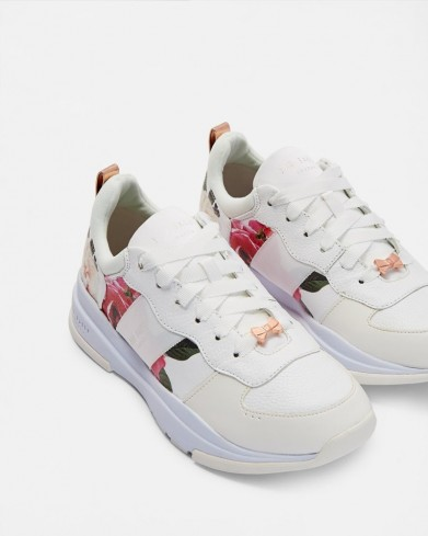TED BAKER WAVERDI Printed chunky trainers in white / pretty floral sneakers