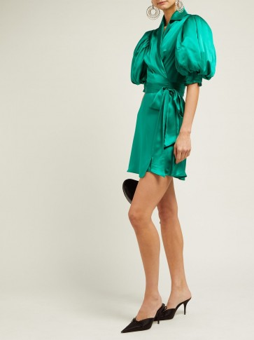 ALESSANDRA RICH Puff-sleeve silk-charmeuse wrap dress in green ~ oversized puffed sleeves
