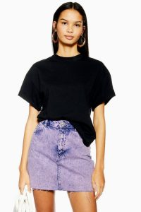 Topshop Purple Acid Wash Mini Skirt | frayed hem denim skirts