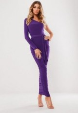 MISSGUIDED purple one shoulder slinky midaxi dress ~ long ruched going out dresses