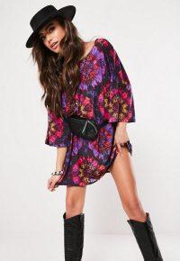 MISSGUIDED purple tie dye oversized t-shirt dress – festival fashion