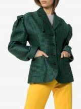 PushBUTTON Check-Print Puff-Sleeve Cotton-Blend Blazer in Green and Navy / oversized puffed sleeves