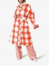 PushBUTTON Check-Print Puff-Sleeve Trench Coat in Red and White