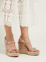 CHRISTIAN LOUBOUTIN Pyradiams 110 studded cork wedge sandals in silver ~ luxe wedges