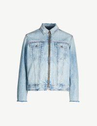 RAG & BONE Faded wash denim jacket in Mandy ~ light-blue front zip jackets