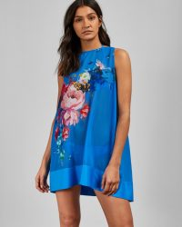 TED BAKER NOVYA Raspberry Ripple cover up in blue / sheer floral poolside fashion