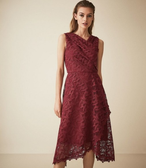 Dark red occasion dresses ~ REISS RAYNA WRAP FRONT LACE DRESS WINE BERRY