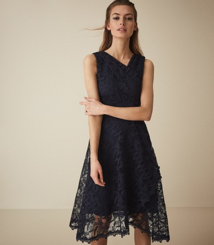REISS RAYNA WRAP FRONT LACE DRESS NAVY ~ feminine blue event dresses