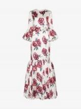 Rebecca De Ravenel Floral Bell Sleeved Floor Length Patio Dress in White / flared hem maxi / long occasion dresses
