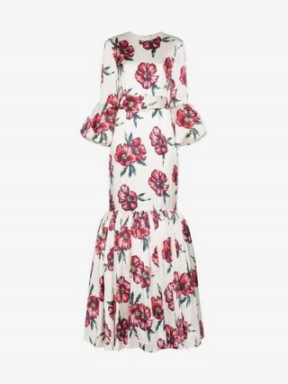 Rebecca De Ravenel Floral Bell Sleeved Floor Length Patio Dress in White / flared hem maxi / long occasion dresses