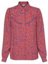 Oliver Bonas Red Animal Print Shirt / front frill shirts