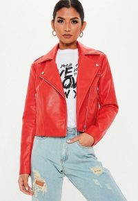 MISSGUIDED red faux leather biker jacket – pop of colour