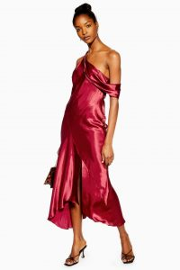 TOPSHOP Red One Shoulder Satin Midi Dress / shiny & silky fabrics / vintage style evening fashion