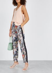 RED VALENTINO Tattoo-print satin trousers / floral side-stripe pants