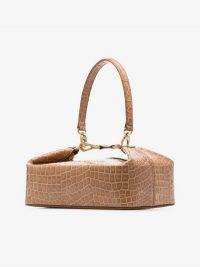 Rejina Pyo Brown Olivia Crocodile-Embossed Leather Box Bag / reptile print handbag