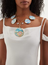SONIA BOYAJIAN Rene Sky crystal and ceramic necklace ~ statement necklaces