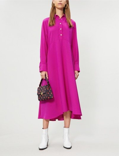 RIKA BY ULRIKA LUNDGREN Rosa A-line crepe midi dress in pink ~ effortlessly stylish day look