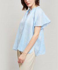 JOSEPH Rita Silk Tie-Neck Top in Pale Blue | flutter sleeve tops