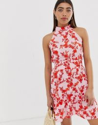 River Island high neck dress in mixed floral print in pink