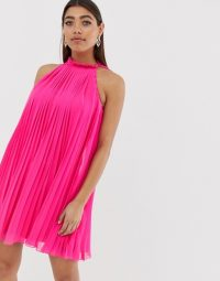 River Island pleated swing dress in bright pink | sleeveless high neck party dresses