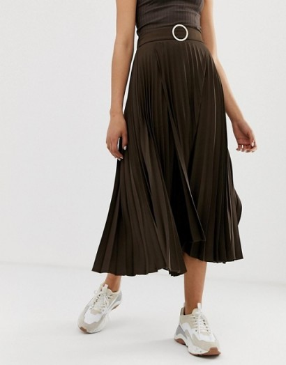 River Island pleated midi skirt in chocolate – dark-brown skirts