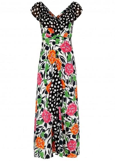 RIXO Antoinette floral-print silk dress / mixed print fashion