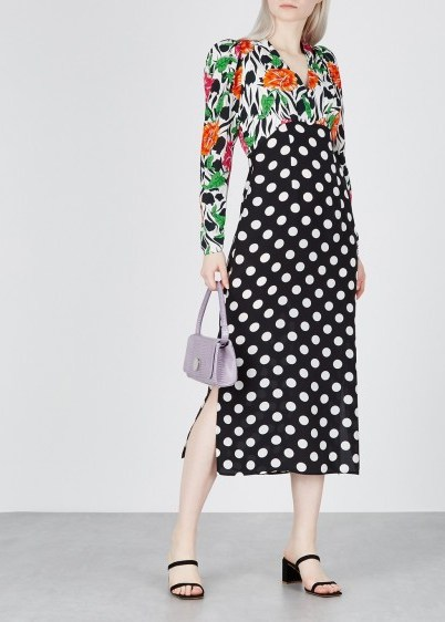 RIXO Gretal printed silk dress / polka dots and flower prints - flipped