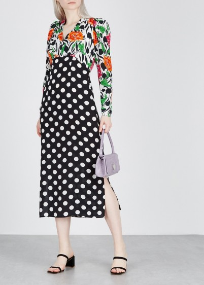 RIXO Gretal printed silk dress / polka dots and flower prints