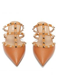 VALENTINO Rockstud caged grained-leather mules in tan