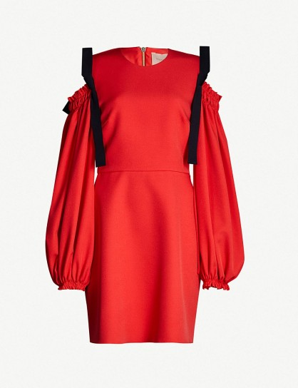Red cold shoulder dresses ~ ROKSANDA Reia silk-blend dress in hibiscus
