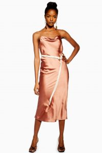 Topshop Rope Belt Midi Slip Dress in Rose | cami dresses