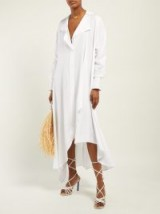 Chic asymmetric shirt dress ~ JACQUEMUS Rosaria voluminous white maxi shirtdress
