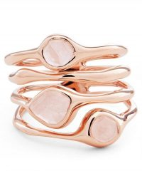 MONICA VINADER Rose Gold Vermeil Siren Rose Quartz Cluster Cocktail Ring | stacking look rings