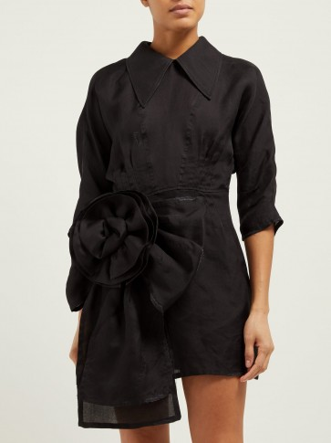 MIU MIU Rosette silk-gazar mini dress in black ~ beautiful Italian clothing