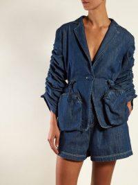 FENDI Ruched single-breasted denim blazer | gathered sleeve jackets
