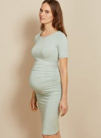 ISABELLA OLIVER RUCHED T SHIRT MATERNITY DRESS MINT GREEN – modern pregnancy fashion