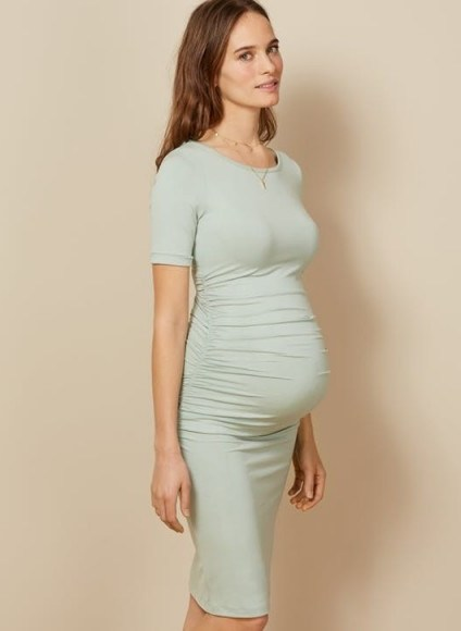 ISABELLA OLIVER RUCHED T SHIRT MATERNITY DRESS MINT GREEN – modern pregnancy fashion - flipped