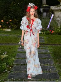 RODARTE Ruffled floral-print silk-satin gown | Matches Fashion
