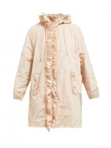 4 MONCLER SIMONE ROCHA Ruffled technical-sateen rain jacket ~ feminine pink mac