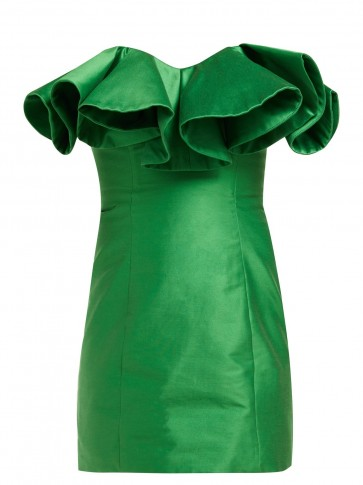 ATTICO Ruffle-trim cotton-blend bustier dress in green ~ taffeta mini
