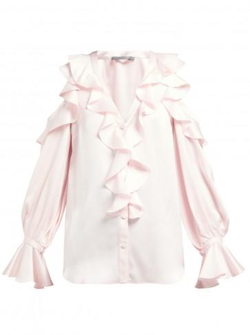 ALEXANDER MCQUEEN Ruffle-trim cut-out shoulder pink silk blouse ~ cold shoulder design